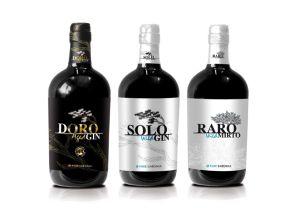 tris di distillati doro aged gin, solo wild gin, raro wild mirto-pure sardinia